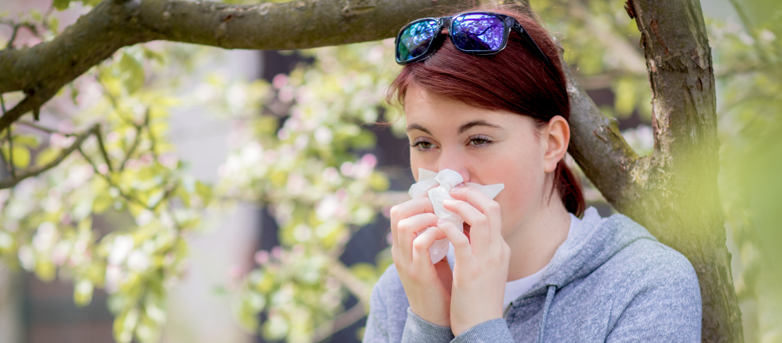 Woman sneezing into tissue during allergy season which falls. Seasonal allergies occur during a time when trees, flowers, and grass start to pollinate releasing the airborne allergen, pollen.